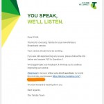 Telstra replies in green