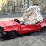 car with rock